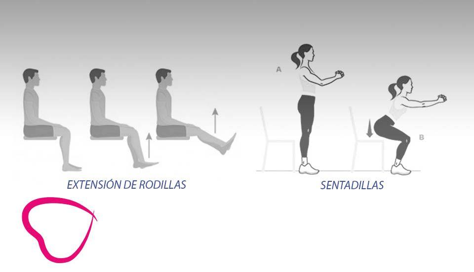 Extensión de rodillas y sentadillas ejercicio mayores